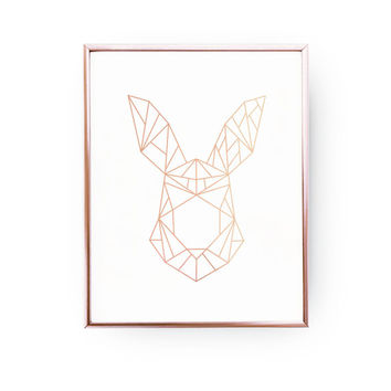 Geometric Rabbit, Rose Gold Foil, Rabbit Print, Rabbit Art, Animal Poster, Rabbit Wall Art, Nursery Print, Animal Decor, Bedroom Poster
