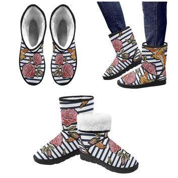 colorful floral pattern with pink roses Custom High Top Unisex Snow Boots (Model 047)