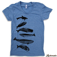 Womens WHALES t-shirt american apparel  S M L XL (16 Color Options)