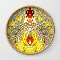 Bright Yellow Pedistal with Rubies Wall Clock by Sheila Wenzel