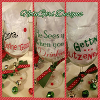 Christmas, Wine Glasses, vinyl wine glass, Holiday Wine glasses, Dear Santa, Wine Glass, Define Good, custom vinyl Designs, Santa