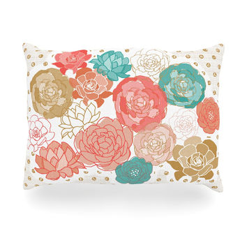 "Pellerina Design ""Spring Florals"" Blush Peony Oblong Pillow"