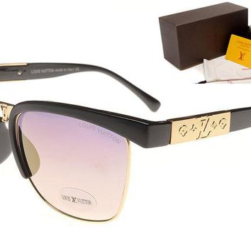 LV Mirrored Flat Lenses Street Fashion Metal Frame Women Sunglasses [2974244699]