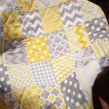 Modern Baby Quilt,Grey,yellow,baby girl quilt,baby boy bedding,Patchwork Crib quilt,chevron,polka dot,newborn,quilt,toddler Mellow Yellow