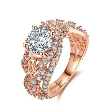 Rose Gold Wedding Ring AAA Zircon Ring