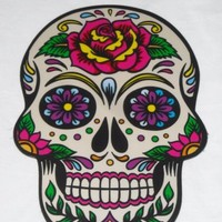 Day of the Dead Skull Magnet Dia de los Muertos Sugar Skull Tattoo Rose Skulls