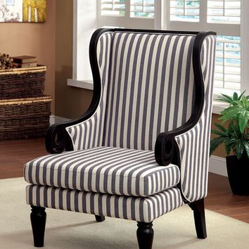 Riviera collection transitional style black finish wood trim and striped fabric upholstered wing high back accent chair