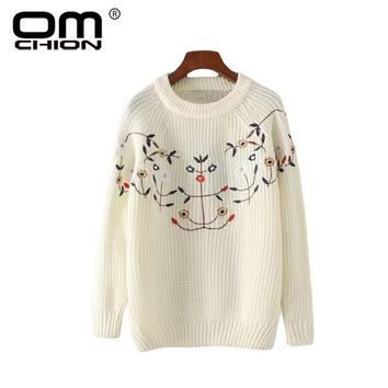 Autumn New O Neck Pullover Women Long Sleeve Floral Embroidery Sweater Casual Knitwear Elegant Sweet Jumper