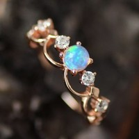 Fancy Rose Gold Plated Art Deco Opal Promise Ring [100695] - $76.00 : jewelsin.com