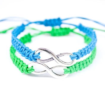 Infinity Bracelets Blue and Green