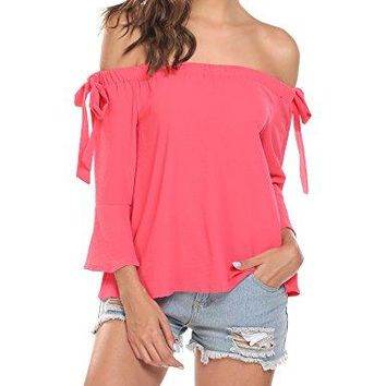 Easther Women Casual Elastic Slash Neck Off The Shoulder Flare Sleeve Bow Tie Sexy Blouse TShirt