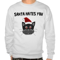 Santa Hates You, Funny Christmas Cat T-shirts