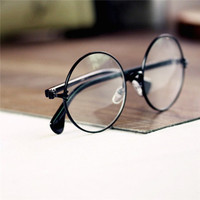 Unisex  Round Metal Frame Clear Lens Glasses Nerd Spectacles Eyeglass