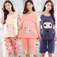 Summer Cute Cotton Cartoon pattern Maternity Clothes 2pcs Set(T-Shirts+Pants) Invisible Breastfeeding Mouth Pregnant Clothes
