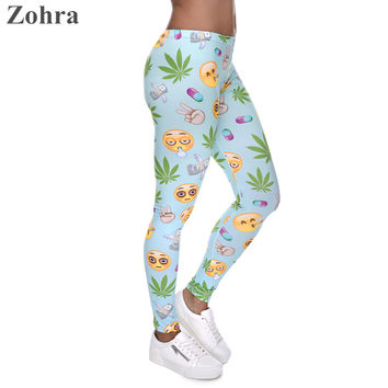 Emoji Weed Printed Leggings