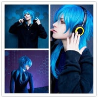 60CM Fashion Mens Hairstyle Blue Mixed Anime Cosplay DRAMAtical Murder DMMD Segaraki Aoba Wig,Colorful Candy Colored synthetic Hair Extension Hair piece 1pcs WIG-271C