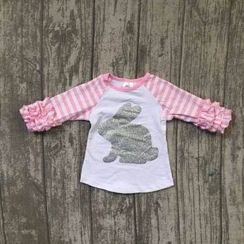 baby girls boutique raglans clothes girls easter bunny raglans pink sleeve unicorn top t shirts clothing children girls top sets