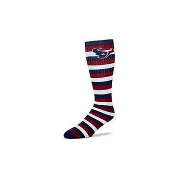 Houston Texans Striped Knee High Hi Tube Socks One Size Fits Most Adults