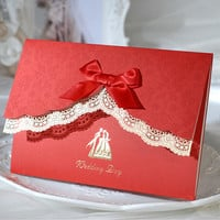 Gorgeous Red Wedding Invitations with bow,Lace invitation card with envelope seal Printable&Customizable