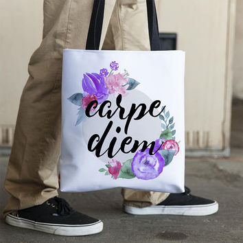 Carpe Diem Tote Floral Carpe Diem Totebag Sieze the Day Tote Bag Inspirational Totebag Motivational Tote Bag Watercolor Tote Bag