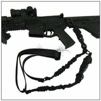 Tactical Hunting Gun Sling 2 Dual Point Sling Adjustable Bungee Strap Cord Rifle Gun Sling w QD Buckle