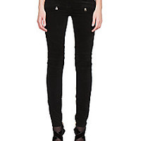 Balmain - Cotton Velvet Moto Jeans - Saks Fifth Avenue Mobile