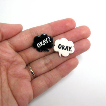 "The Fault in Our Stars ""Okay"" Quote Bubble Stud Earrings. Handmade Okay? Okay. White and Black Thought Bubble Stud Earrings. John Green"