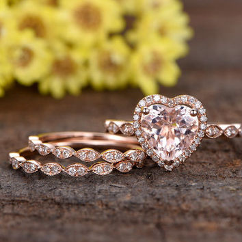 8mm heart shaped pink Morganite engagement ring set,half eternity diamond wedding bands,14k rose gold diamond HALO promise ring,Marquise