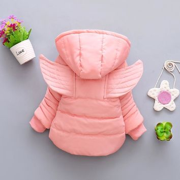 New Winter Coat Baby Girl Wing Hooded Thickness Autumn Winter Newborn Jacket Baby Coat 8BB005