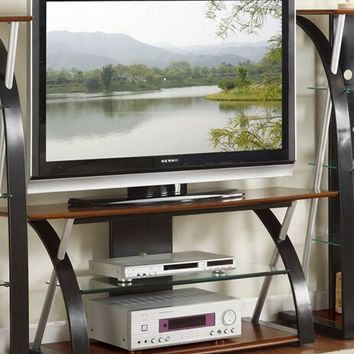 Modern style Black and brown finish wood , metal and glass TV stand
