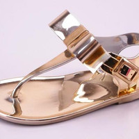 Toddler Gold Sandal with Bow