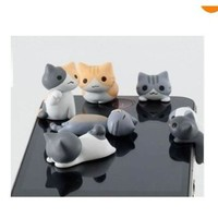 New Wayzon 6pcs Cute Cheese Cat 3.5mm Anti Dust Earphone Jack Audio Interfact Plug Stopper Cap for iPhone, Samsung, HTC, More Phones and Tablets