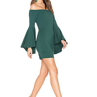 Susana Monaco Off Shoulder Dress in Vert | REVOLVE