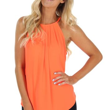 Long Pleat Tank Neon Orange
