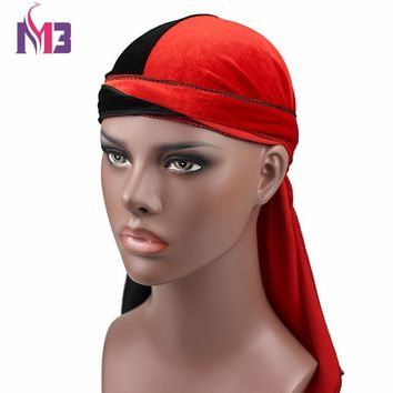 New Fashion Men's Velvet Durags Bandana Turban Hat Wigs Half Doo Durag Biker Headwear Headband Pirate Hat Hair Accessories