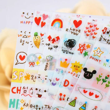 New Cute Lovely 6 Sheet Paper Stickers For Kids Home Decor On Laptop Sticker Decal Fridge Skateboard Doodle Sticker Toy Stickers