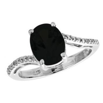 2.2 Ct Oval Natural Black Onyx .01 cttw Diamond 925 Sterling Silver Ring