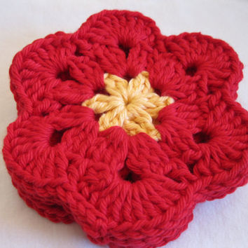 Crochet Coaster -  Set of Four Red and Yellow Crochet Coasters - African Flower Coasters