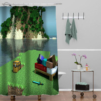 Minecraft Mine Craft Personalized Custom Shower curtain decorative shower curtain size 36x72,48x72,60x72,66x72