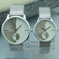 Classic Womens Men's Watches Quartz Stainless Steel Mesh belt Wrist Watch