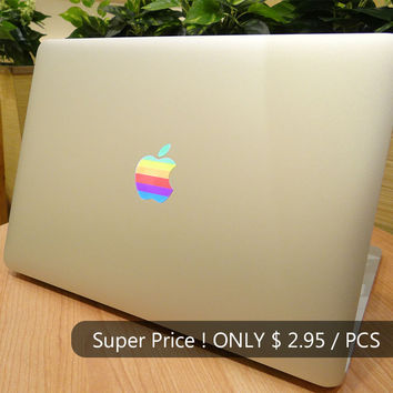 "Retro Rainbow Semi-transparent Laptop Decal for MacBook Skin Air Pro Retina 11"" 12 13 15 Case Cover Vinyl Apple Logo Sticker"
