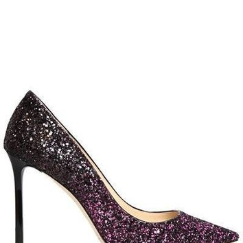 Purple Glitter Gradient Heels by Jimmy Choo
