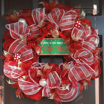 Christmas Wreath -  Red and White Deco Mesh Wreath. Xmas Wreath, Holiday wreath, Believe in the magic of Christmas plaque