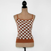 70s Tank Top Womens Knit Top Sleeveless Beaded Small Unique 1970s Clothing Brown Light Blue Checkerboard Vintage Clothing Womens Clothing