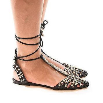Pippa126 Black Pu By Wild Diva, D'Orsay Studded Pointed Toe T-Strap Ankle Lace Up Ballet Flats