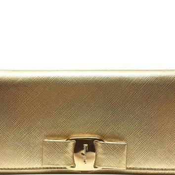 Salvatore Ferragamo Leather Gold Metallic Flap Wallet