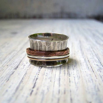 Spinner Ring Fidget Fiddle Worry Wide Band Wedding Ring Hammered Sterling Silver Copper 14KGF