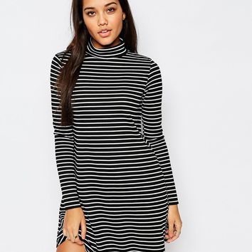 Missguided Long Sleeve Roll Neck Stripe Swing Dress at asos.com