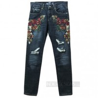 Indie Designs Floral Embroidered Distressed Jeans