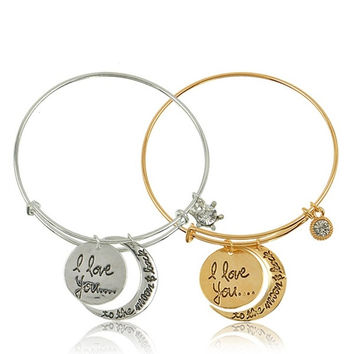 "Hot Fashion Gold/Silver White Tone Letter ""I Love You To The Moon and Back"" Bracelets Women Men Unisex Family Jewelry = 1945951236"